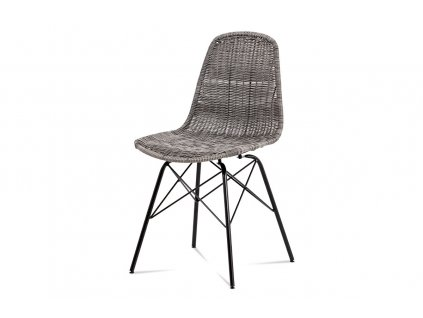 Jídelní židle šedá umělý ratan / kov