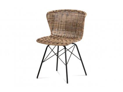 Jídelní židle hnědá umělý ratan melír / kov