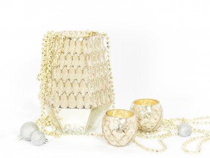 Sada 3 ks dekorací: Váza / svícen 22 cm, svícny champagne