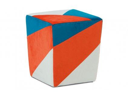 Taburet oranžová / modrá / krémová 41 x 35 cm