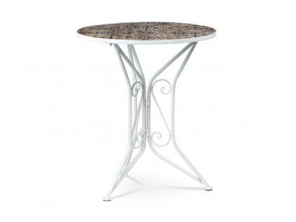 Zahradní stůl keramická mozaika / kov bílý