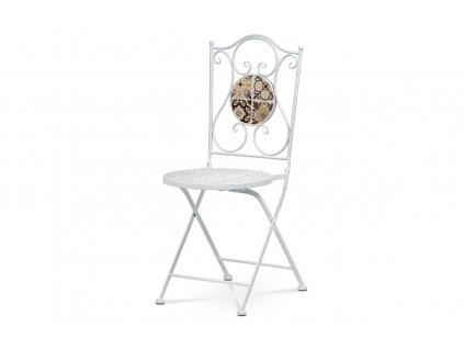 Zahradní židle keramická mozaika / kov bílý