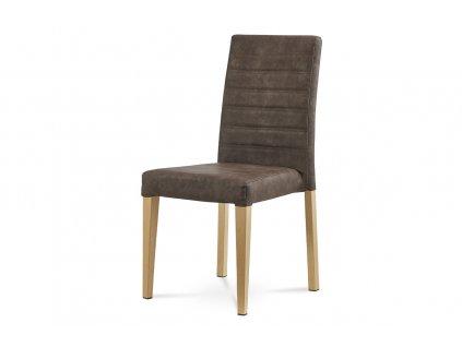 Jídelní židle hnědá broušená kůže / dub