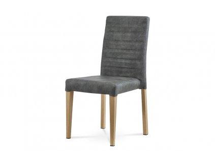 Jídelní židle šedá broušená kůže / dub