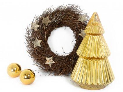 Sada 2 ks dekorací: Zlatý stromeček a věnec s hvězdičkami
