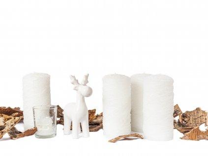Sada 7 ks dekorací: Svíčky třpytivé, sob, svícen se svíčkou ve tvaru domečku, kůra