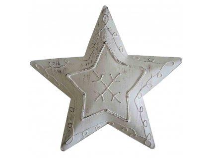 Hvězda závěsná bílá 14 cm