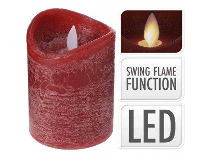 LED svíčka červená 10 cm