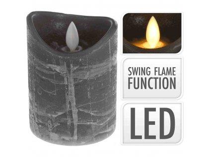 +LED svíčka šedá 10 cm