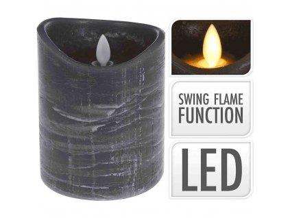 LED svíčka šedá 12 cm