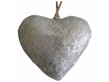 Závěsné srdce stříbrné 10 cm