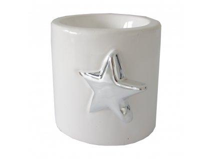 Svícen s hvězdičkou keramický 7,5 cm