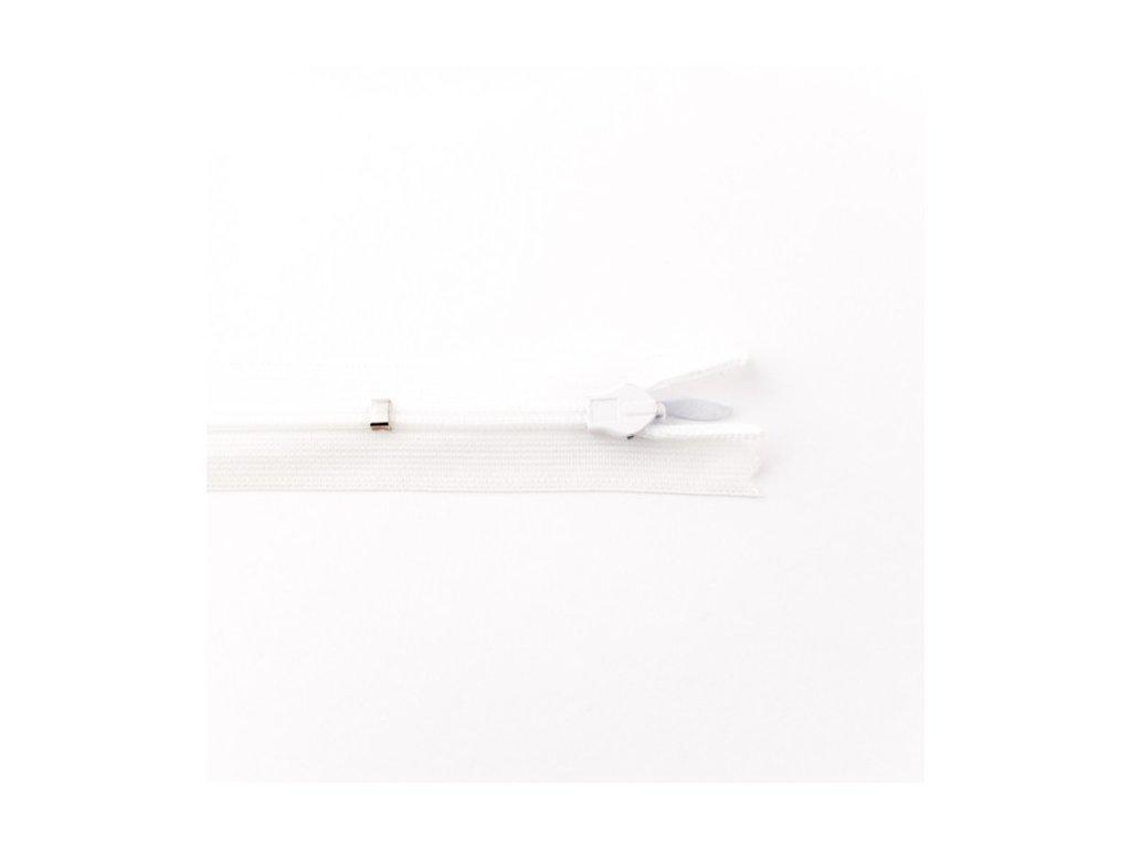 Skrytý zip - 25 cm - bílý