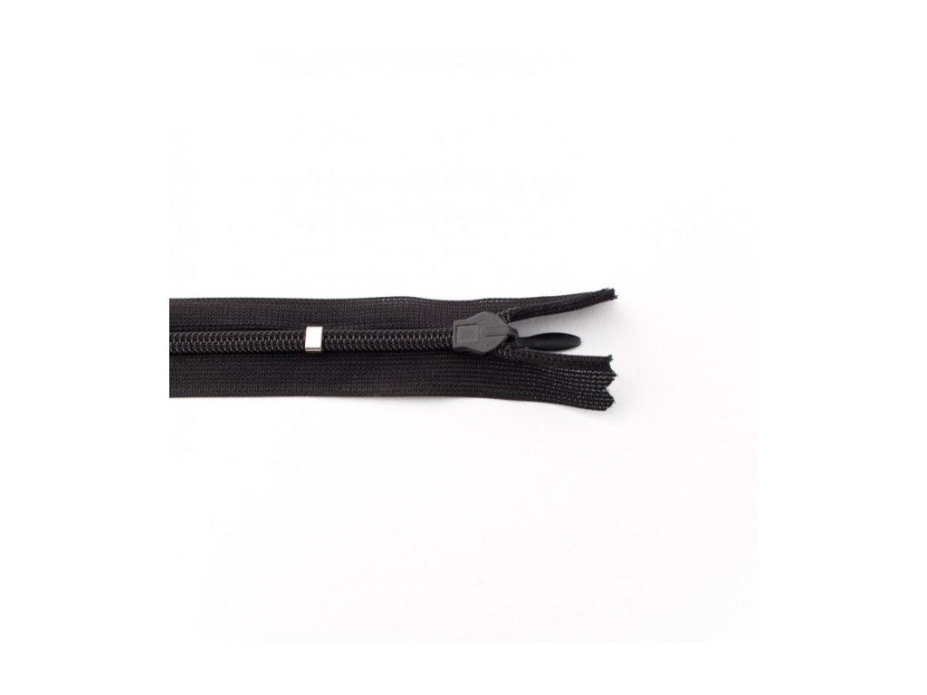 Skrytý zip - 25 cm - černý