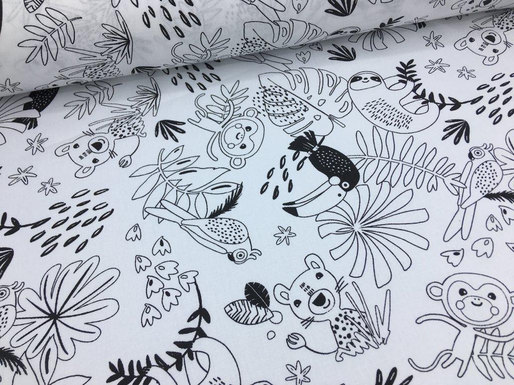 Bavlna - džungle (černý tukan) - vymalovávací