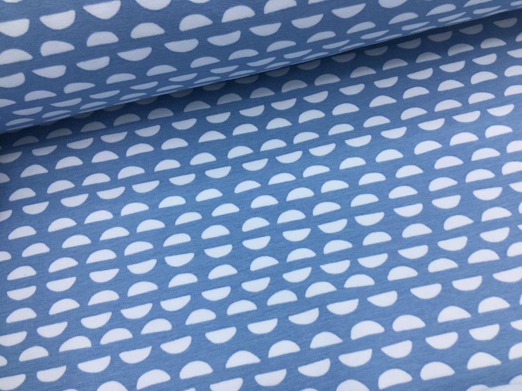 Teplákovina - kopečky na modré - nepočesaná