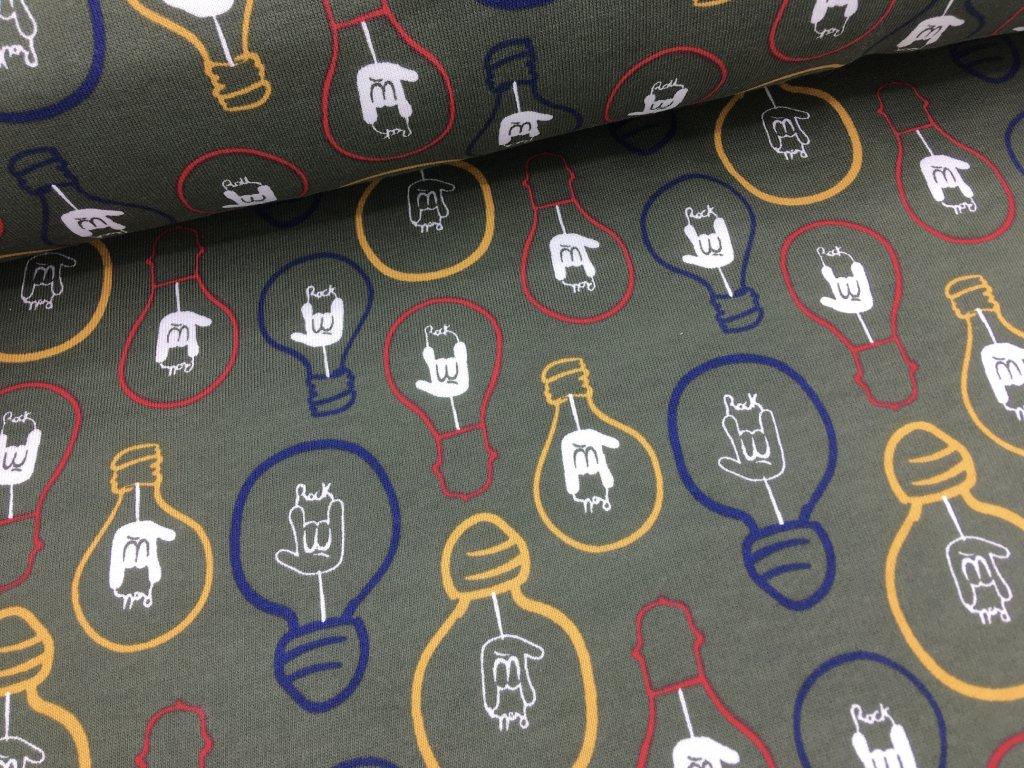 Teplákovina - žárovky khaki - počesaná