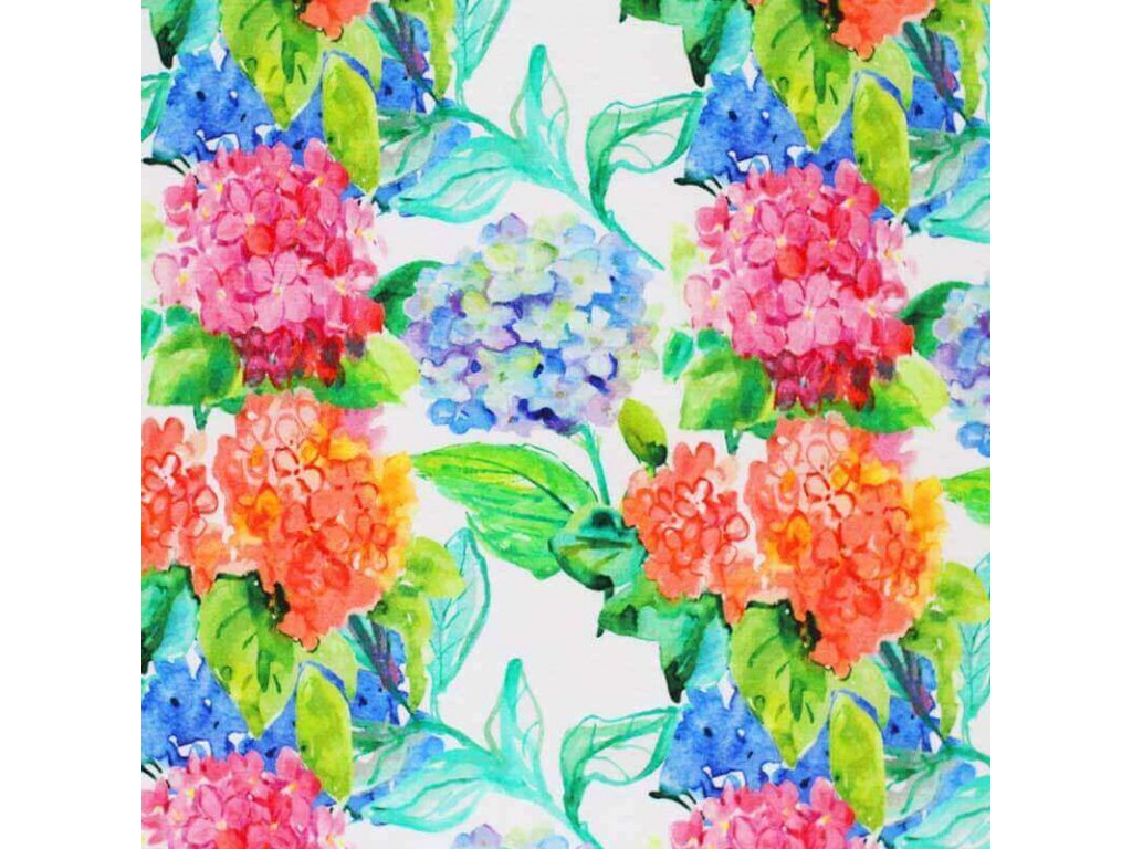 Viscose Jersey Watercolor Hydrangea 800x800
