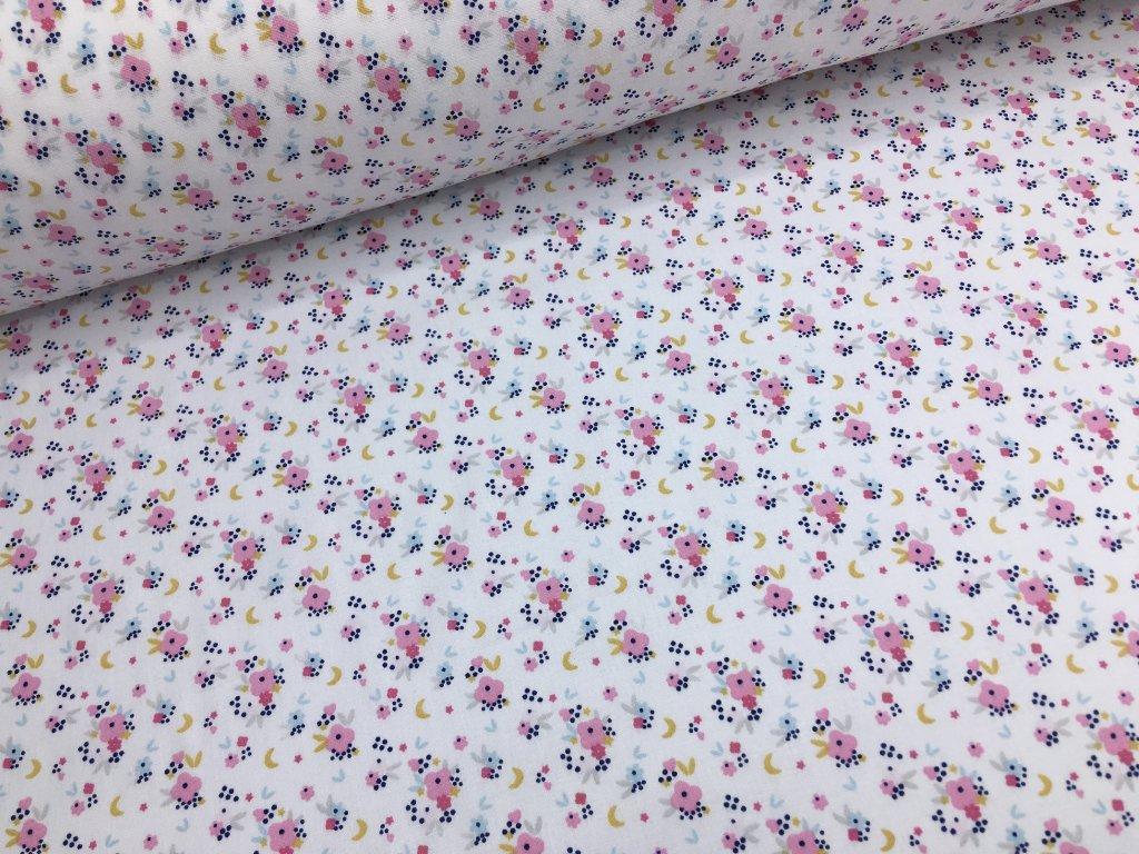 Bavlna - kolekce květinové víly - bílé kytičky