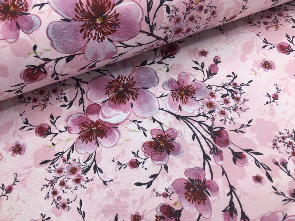 Zimní softshell - rozkvetlá třešeň - světle růžová