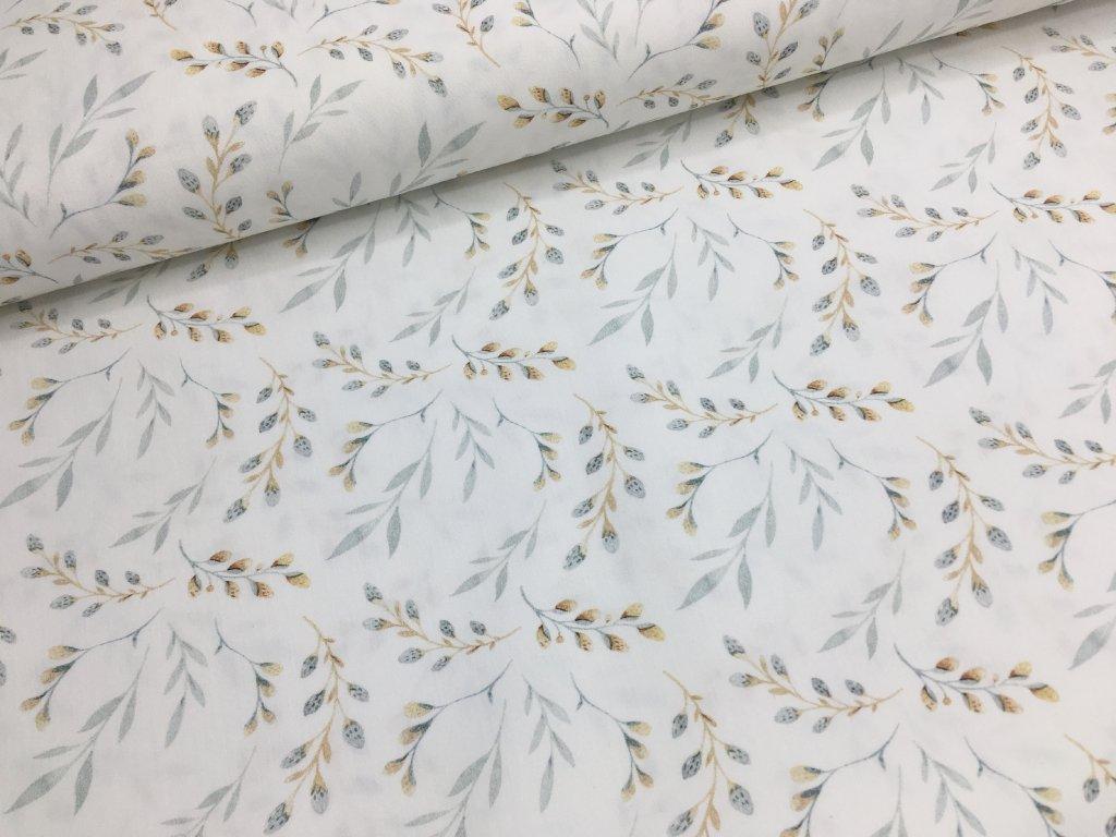 Bavlna - vrbové větvičky - digitální potisk