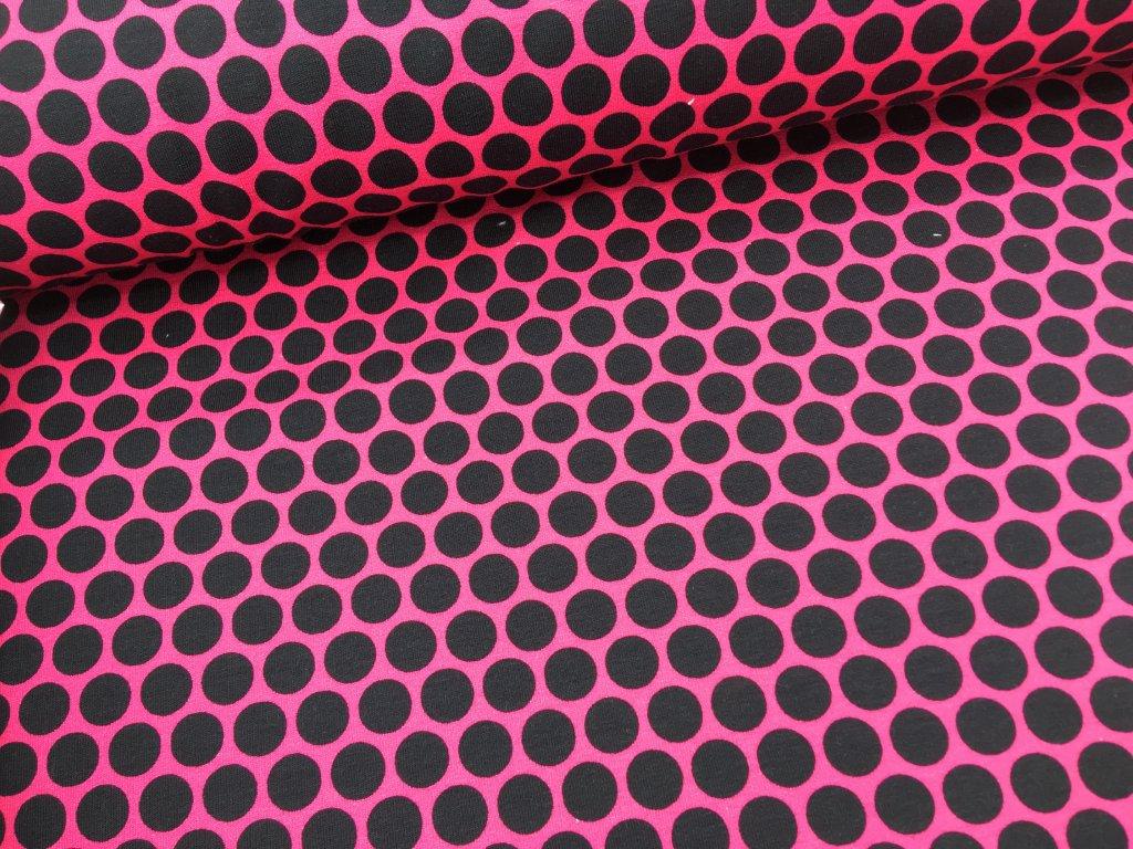 Teplákovina - puntíky - fuchsie - 75cm (2.jakost)