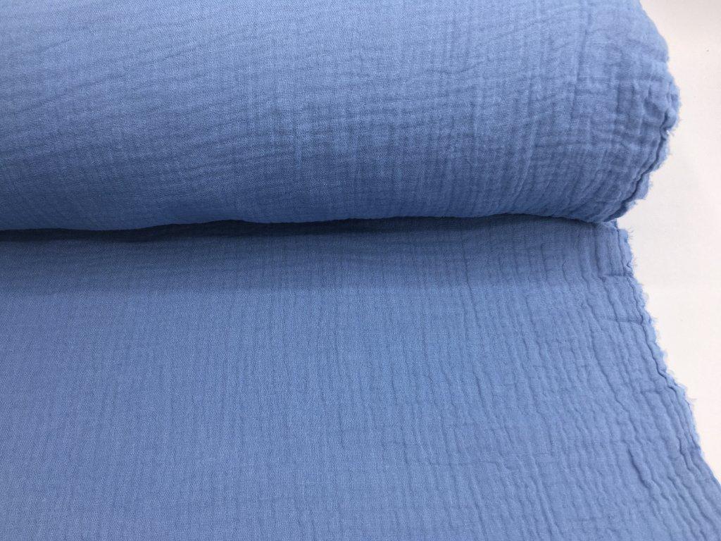 Dvojitá gázovina - džínsově modrá