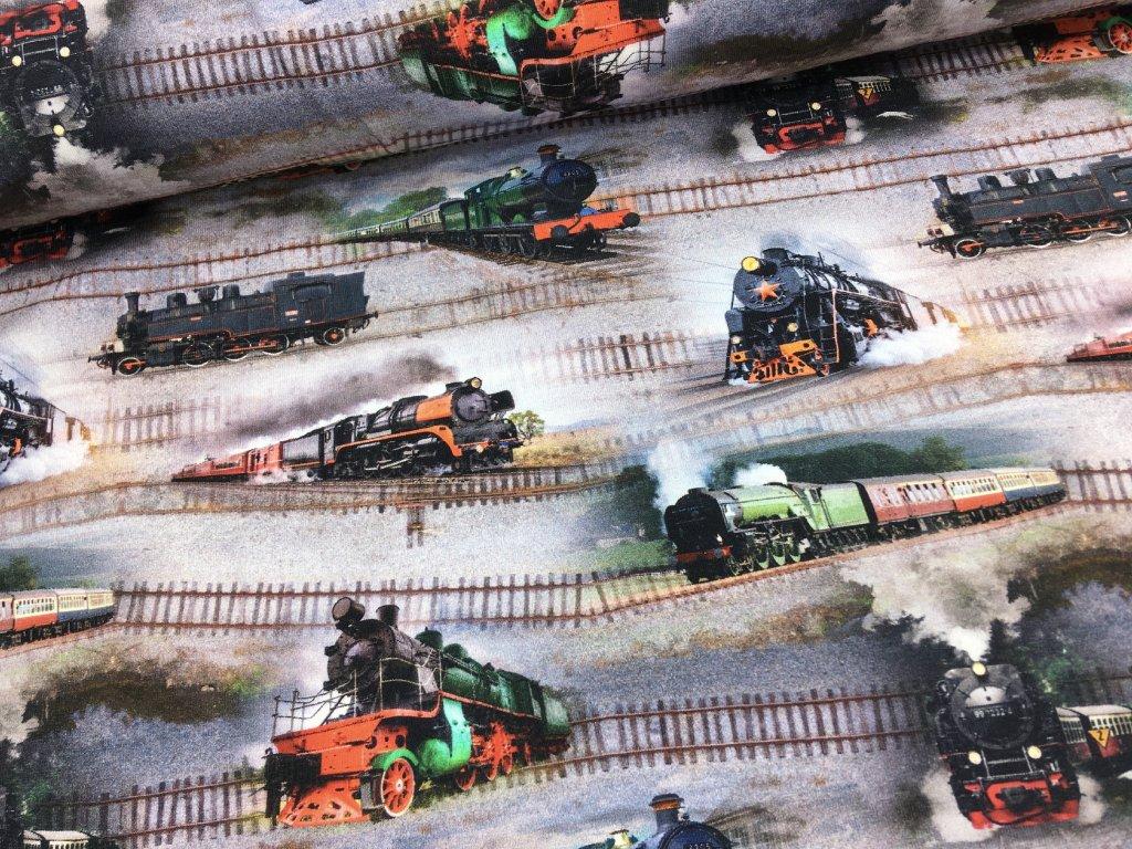 Úplet - vlaky - digitální potisk - doprodej 66cm
