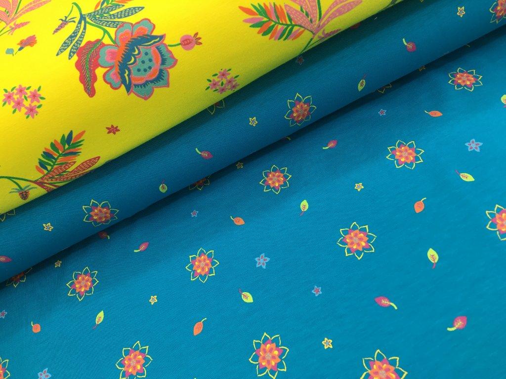 Úplet - barevné kytičky - modrá - doprodej 35cm