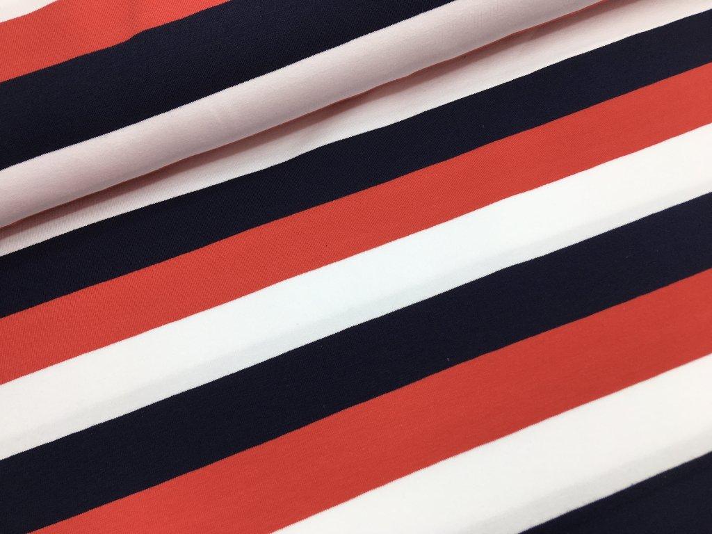 Úplet - proužky 3cm - navy/bílá/červená - doprodej 84cm