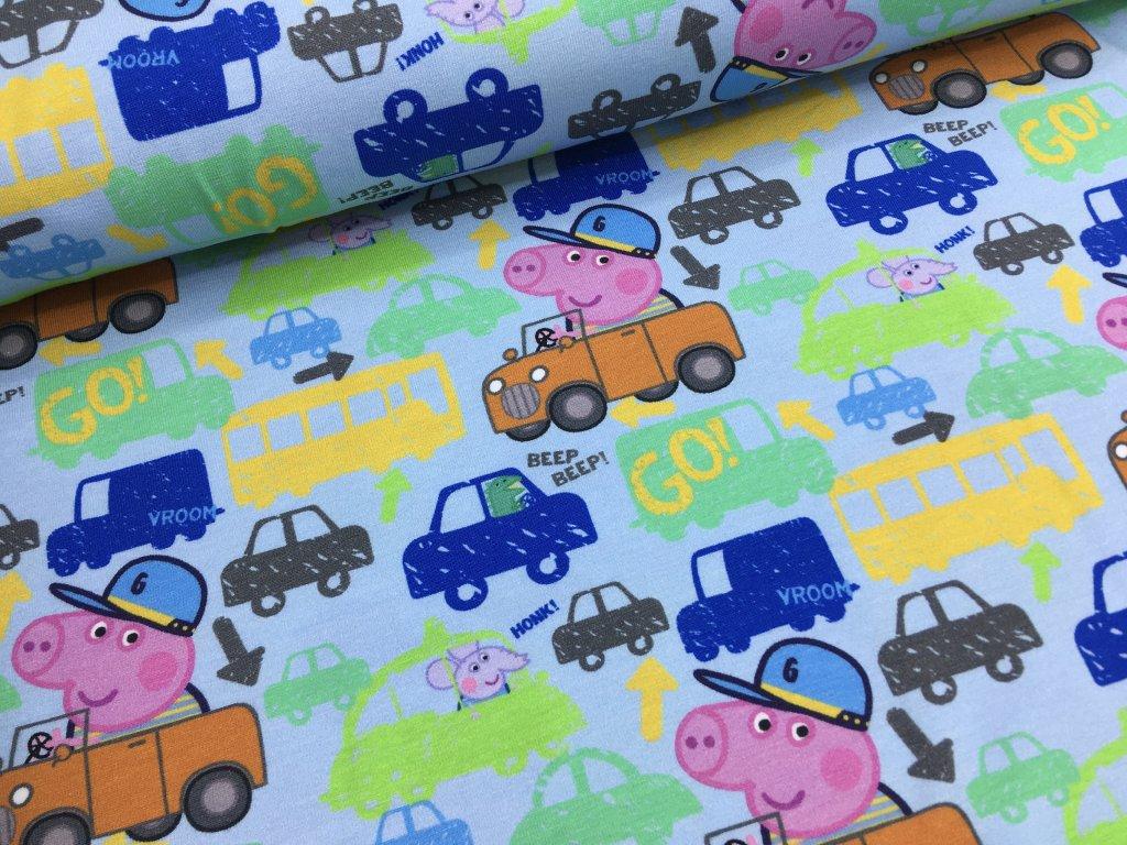 Úplet - prasátko Peppa v autě - světle modrá