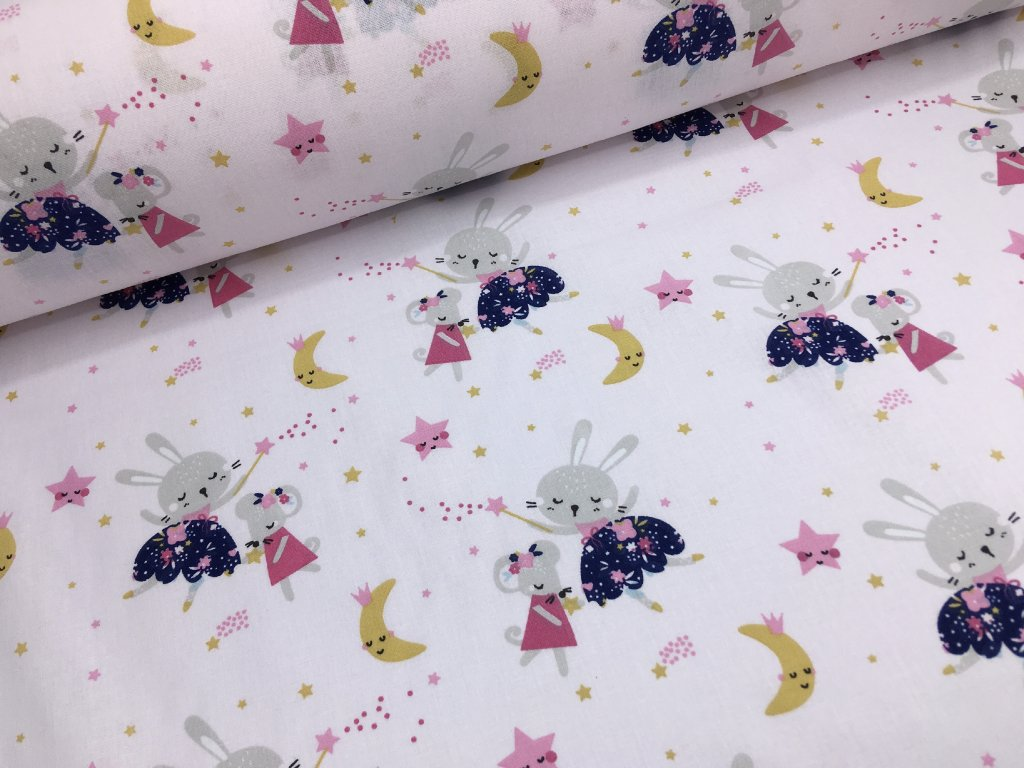 Bavlna - kolekce květinové víly - myška a zajíček - 30cm (2.jakost)