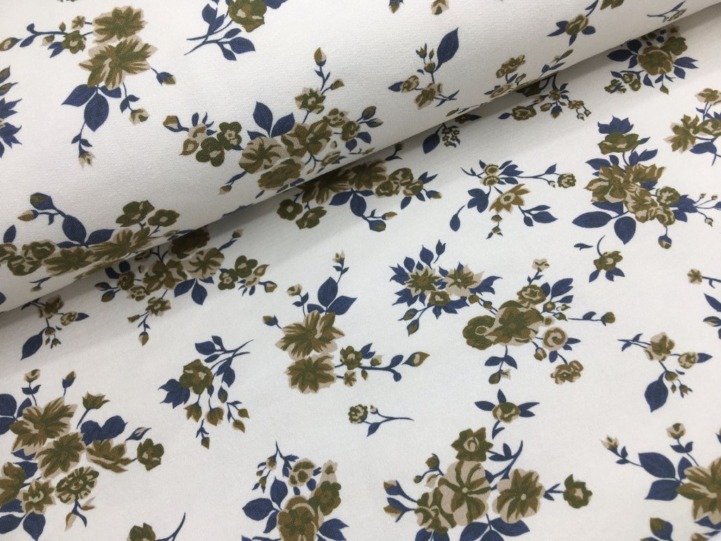 Teplákovina - květy na krémové - počesaná