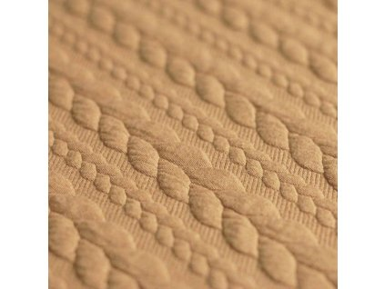 Cable Knit Jacquard Fabric Camel 800x800