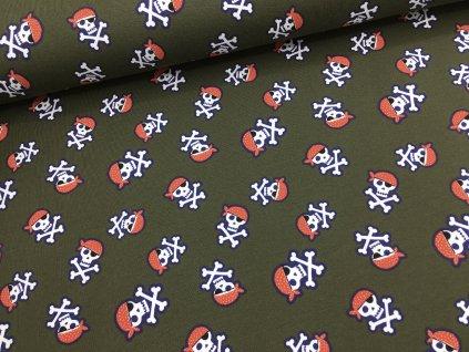 Úplet - pirátská lebka - khaki