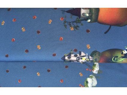 Úplet - bordura domečky - modrá