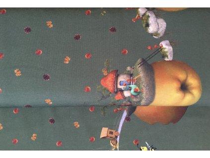 Úplet - bordura domečky - zelená