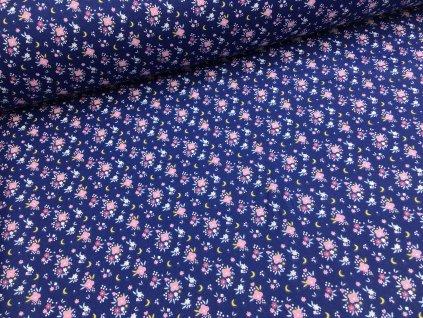 Bavlna - kolekce květinové víly - modré kytičky