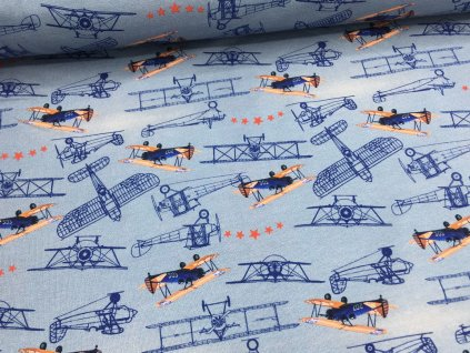 Úplet - historická letadla - modrá