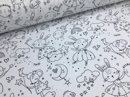 Bavlna - zajíčci - vymalovávací