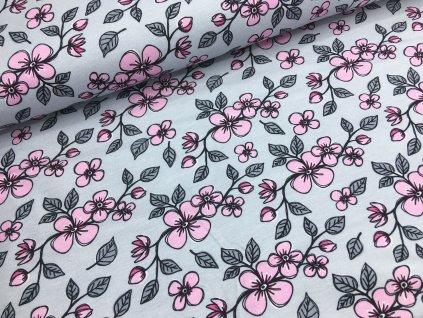 Úplet - květiny na šedé - kolekce holčička