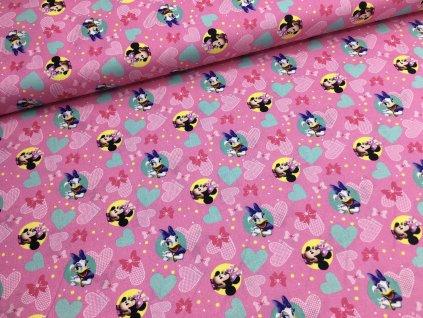 Bavlna - MICKEY MOUSE - růžová - 43cm (2.jakost)