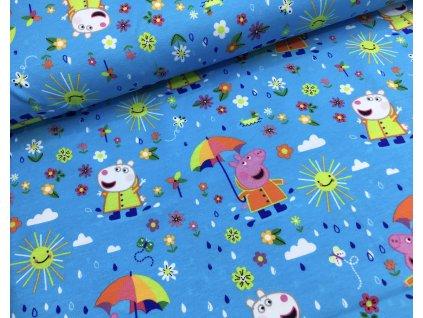 Úplet - prasátko Peppa s deštníkem - modrá
