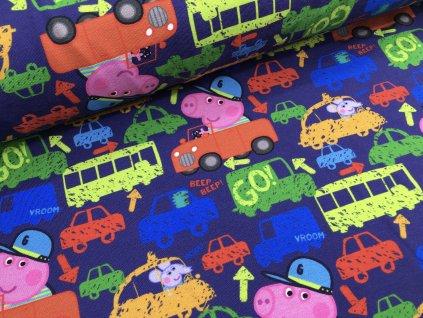 Úplet - prasátko Peppa v autě - tmavě modrá