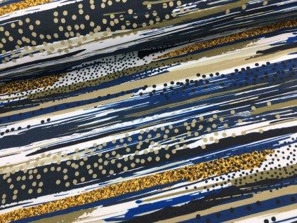 Teplákovina - abstraktní pruhy - modrá - 42cm (2.jakost)