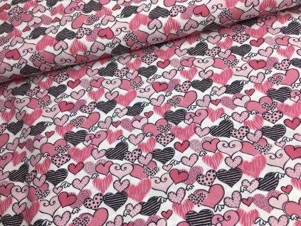 Bavlna - srdíčka - kolekce holčička - 40cm (2.jakost)