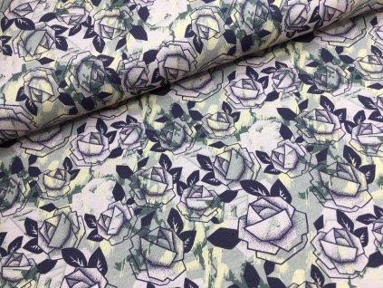 Teplákovina - růže na fialové  - nepočesaná