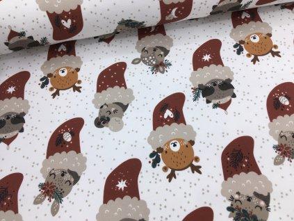 Teplákovina - vánoční - zvířátka v punčoše - doprodej 51cm