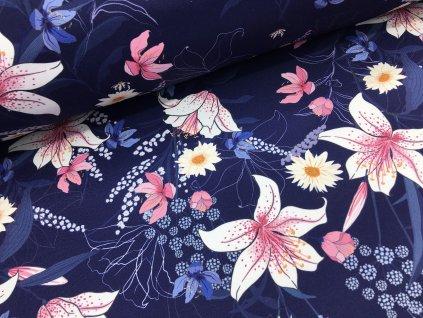Zimní softshell - růžové květy - tmavě modrá