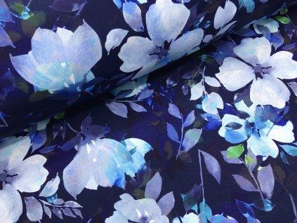 Zimní softshell - modré květy - tmavě modrá